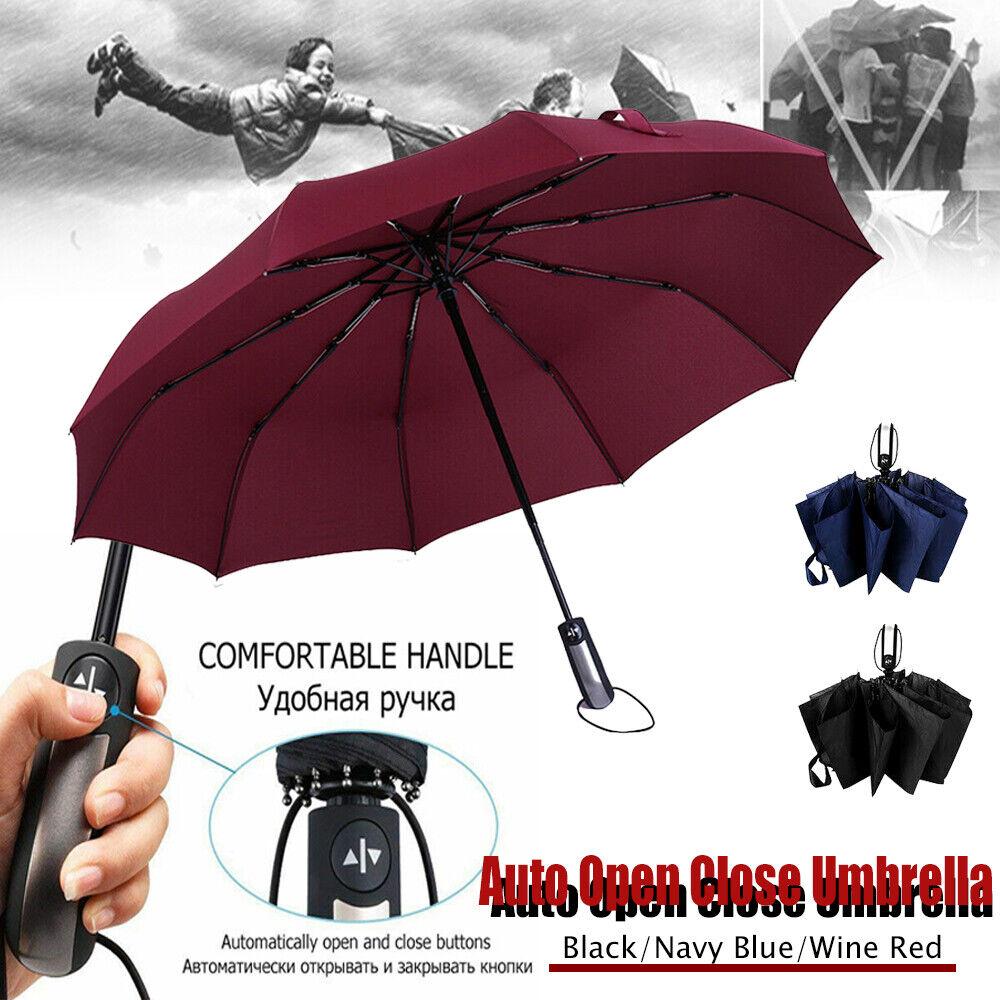 Strong Windproof 10 Ribs Umbrella   Auto Open/Close Arc Travel Compact Folding