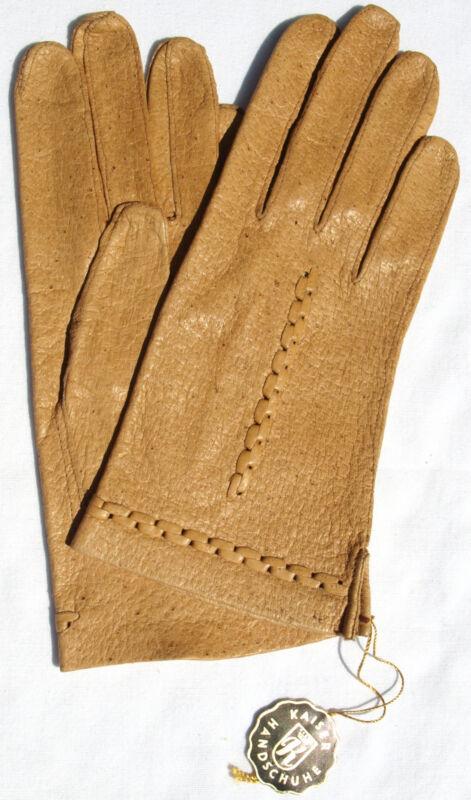 Gloves Leather Women Emperor Finger Braided Pattern Unlined Camel Beige 8