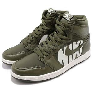 f053089aa961b5 Nike Air Jordan 1 Retro High OG Big Logos Olive Canvas Sail AJ1 Men ...