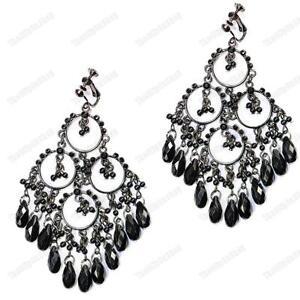 Image Is Loading Clip On Beaded Chandelier Earrings 4 034