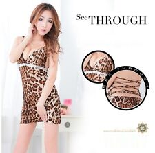 Wild Leopard Print Tie Back Fancy Mini Dress, Night Party Outfit Costume, UK S/M