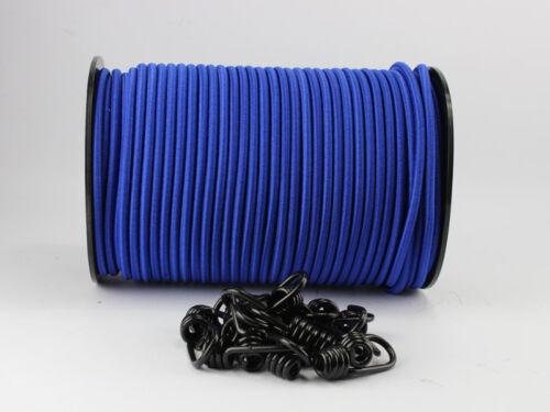 10 Spiralhaken Gummiseil Planenseil Spannseil elast. 30m Expanderseil blau 8mm