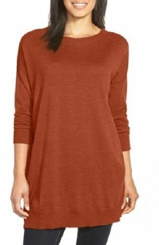 Eileen Fisher NWT  brown 100% wool long sleeve tunic size Medium Large
