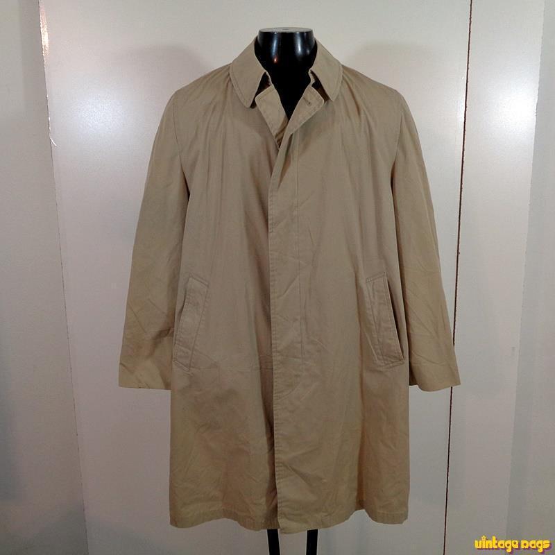 LONDON FOG Vtg Reeves Maincoats Long RAINCOAT Rain Trench Coat Mens L 44 Khaki