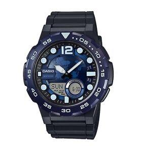 Casio-Watch-AEQ100W-2AV-Telememo-3D-Blue-Dial-Anadigi-Black-Resin-COD-PayPal
