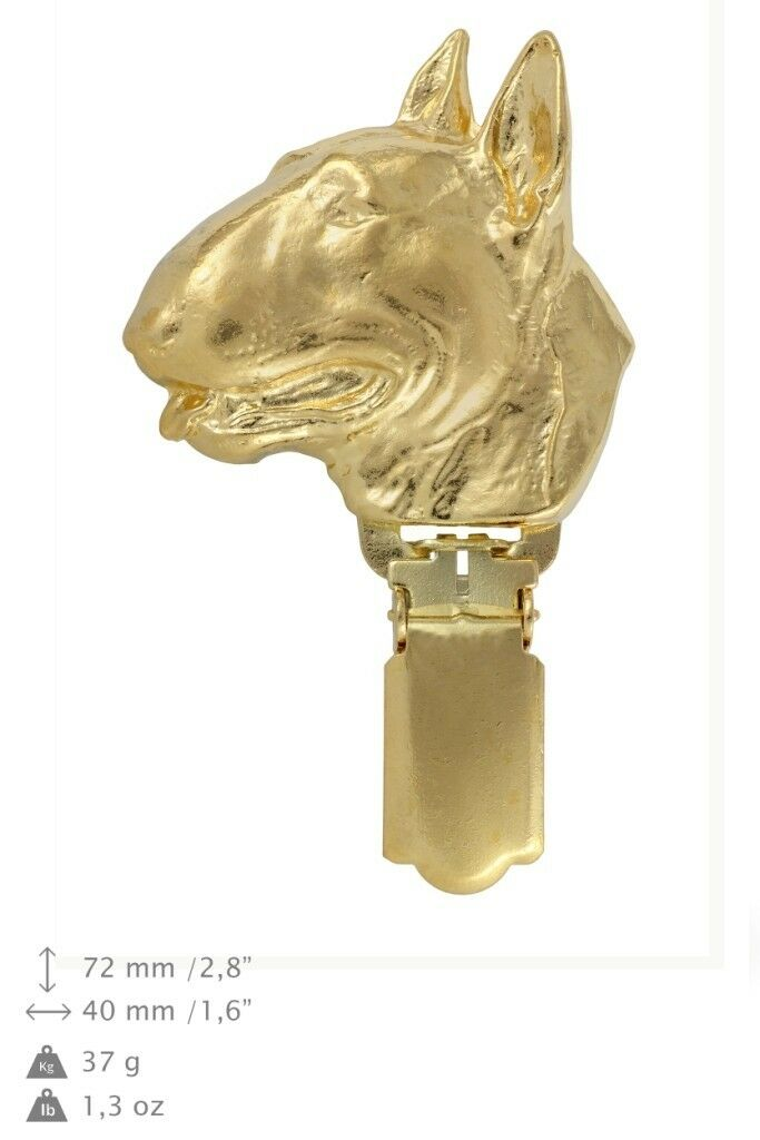 Bull Terrier - clip, oro covered clipring with dog, high quality, Art Dog