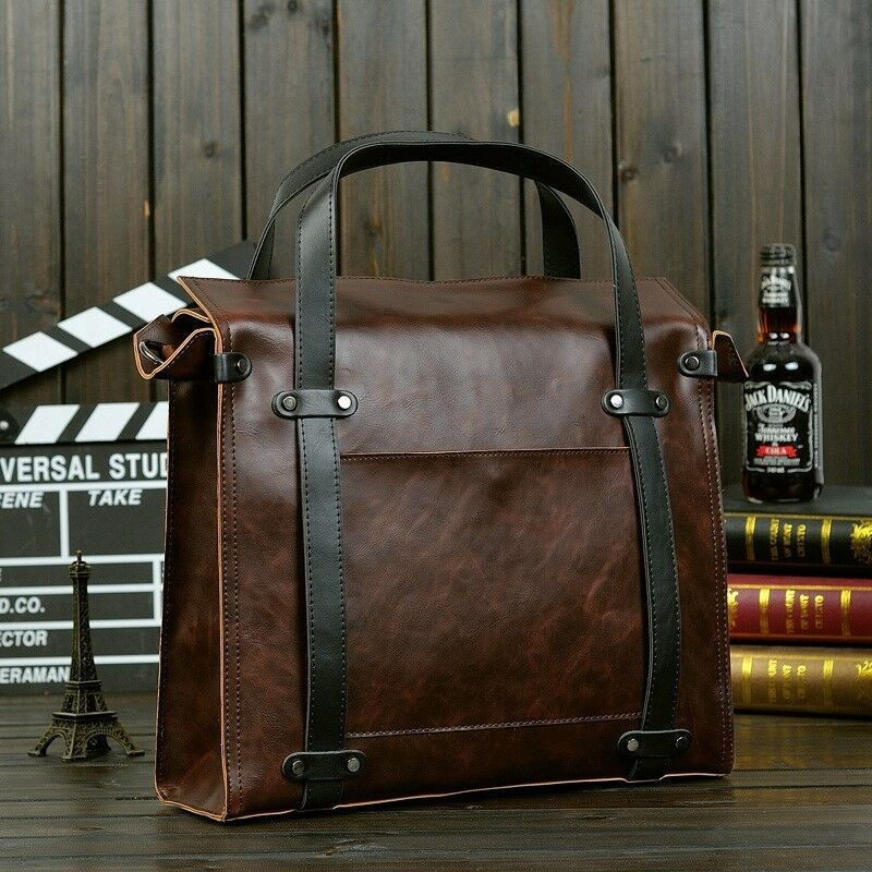 Gifts! Large Capacity Men Crazy Horse Business Shoulder Bags Briefcase