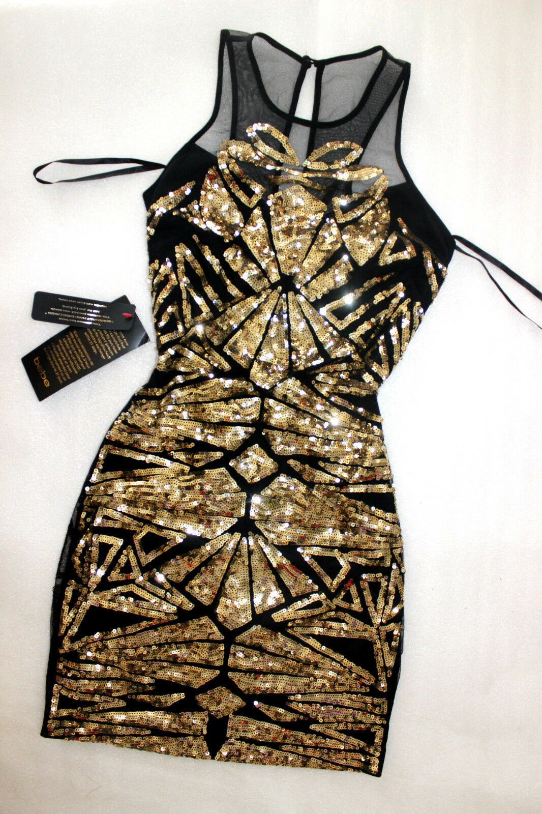 8ade67a7ba60e2 NWT Bebe schwarz Gold sequin deep v neck mesh sparkle mesh top dress M  Medium 6