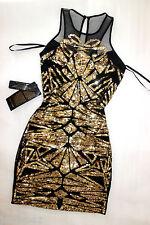 NWT Bebe black gold sequin deep v neck mesh sparkle mesh top dress M Medium 6 8