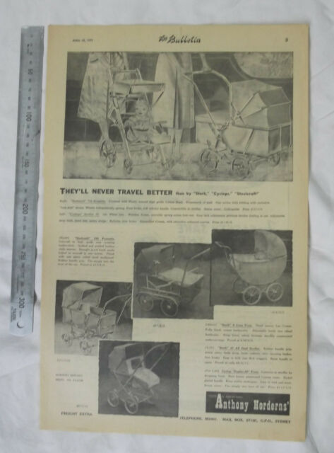 Baby Pram Full Page Advertisement from 1951 Newspaper Steelcraft Stork Cyclops