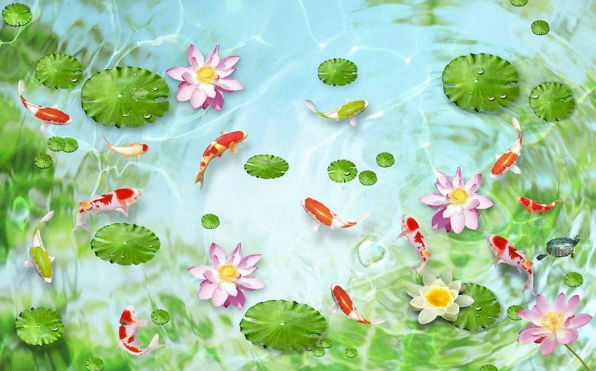 3D Lotus goldfish  927 WallPaper Murals Wall Print Decal Wall Deco AJ WALLPAPER