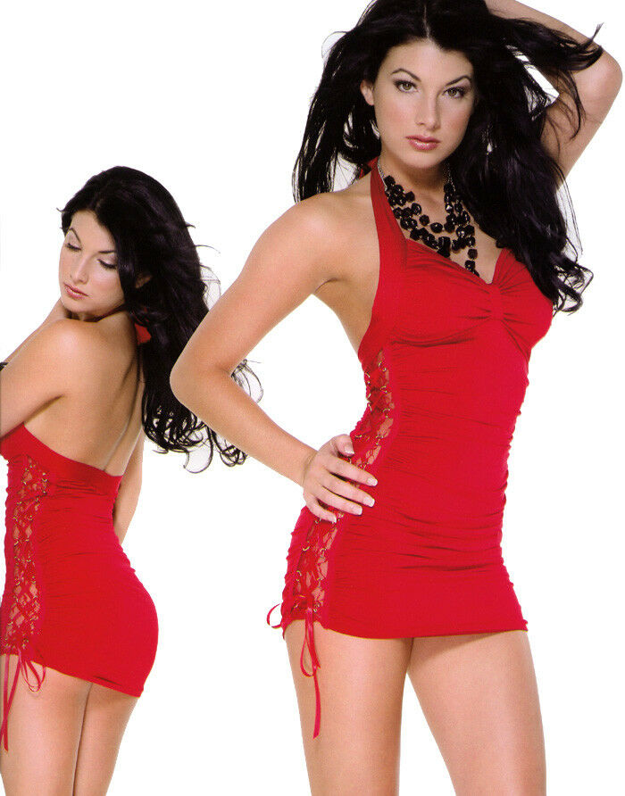 Mini Robe Moulante Sexy Lacé Dos Nu Dentelle Microfibre rot Forplay M 38 40