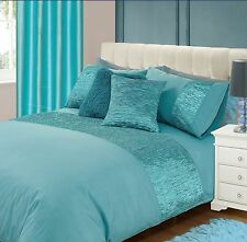 DUCK EGG BLUE FAUX SILK CRUSHED PANEL ROUCHED DETAIL MODERN DUVET COVER BED SET