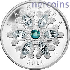 Canada 2011 Snowflake Swarovski Emerald 20$ Pure Silver Proof Coin Perfect