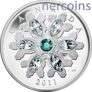 Wild Rose With Swarovski Crystal 2011 $20 Canada Proof Fine Silver Coin