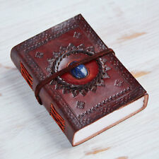 Indra Fair Trade Handmade Medium Embossed Stoned Leather journal Notebook Diary