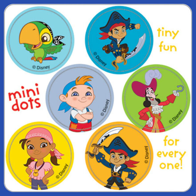 Jake and the Neverland Pirates Stickers - 48 Dots - Birthday Party Favours Loot