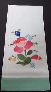 Embroidered-Fingertip-Towel-Pink-Green-Applique-14-25-034-x21-5-034-Unused