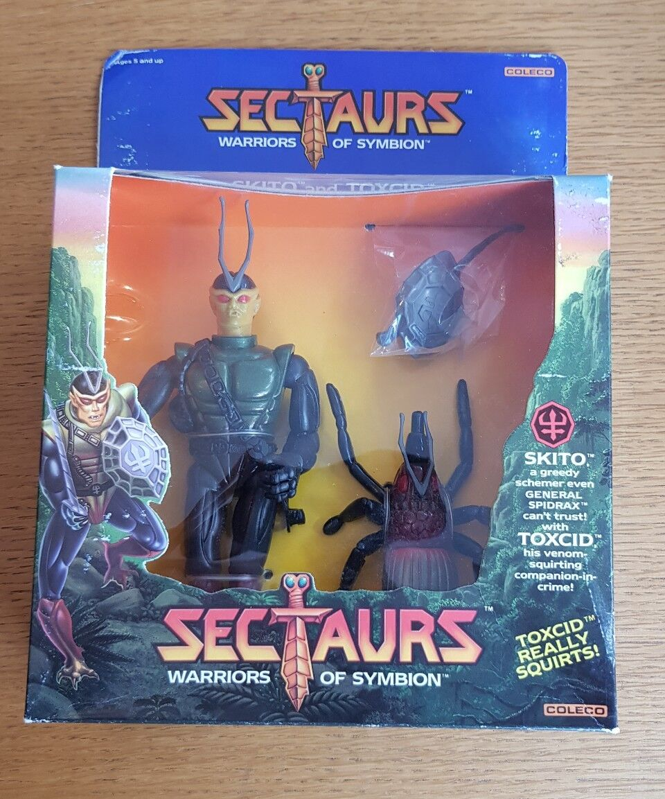 VERY RARE SECTAURS 7  FIGURE SKITO & TOXCID SEALED 1984 COLECO RAINBOW TOYS NEW