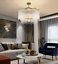 thumbnail 6 - Modern Crystal Gold Chandelier Round Glass Dining Room Living Light Fixture