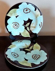 Laurie-Gates-Madison-Salad-Plates-x2-Designed-in-Ca-Chocolate-Turquoise-Flowers