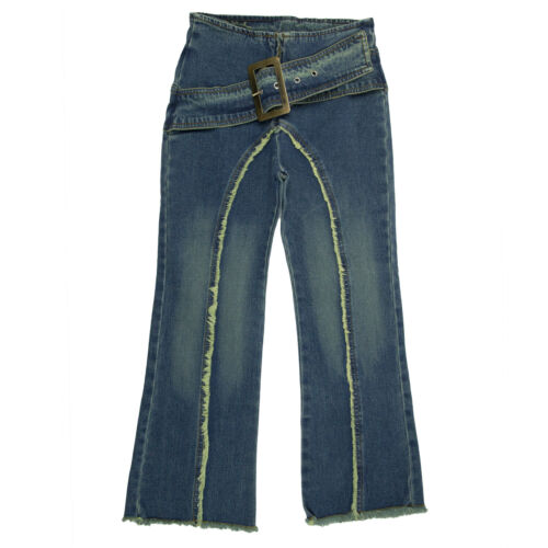 Destiny Girlz Spandex Blue Jeans with Belt and Buckle Accent Size 6X-16