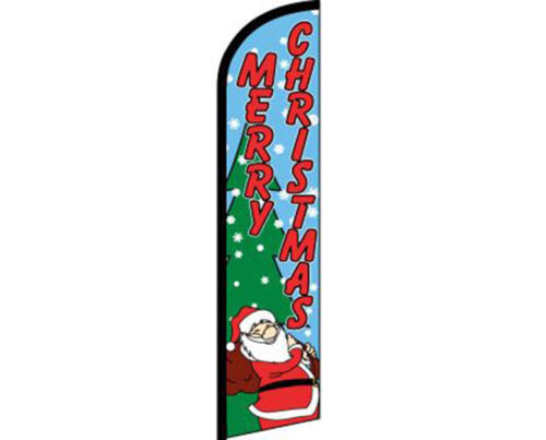 Red Windless Banner Advertising Marketing Flag Merry Christmas Snow Blue