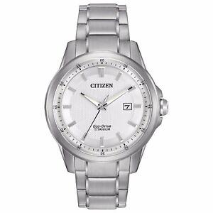 Citizen-Eco-Drive-Men-039-s-Super-Titanium-White-Dial-Bracelet-Watch-42mm-AW1490-50A