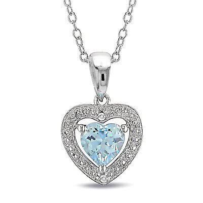 Sterling Silver 1 Ct TGW Sky Blue Topaz and Diamond Heart Necklace Pendant 18""