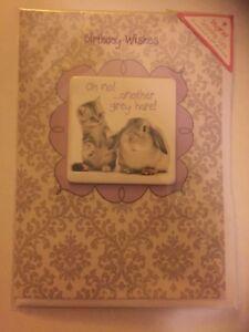 Oh-no-another-grey-hare-tabby-kitten-amp-rabbit-Birthday-card-amp-fridge-magnet