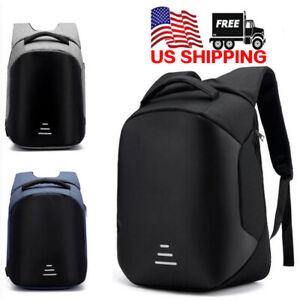 US-Mens-Anti-theft-Laptop-Black-Backpack-USB-Charging-Port-Rucksack-Satchel-Bag