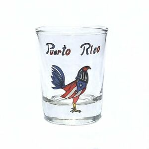 2OZ-Shot-Glass-With-Puerto-Rico-Flag-Rooster-Crystal-SOUVENIRS-Rican-Boricua