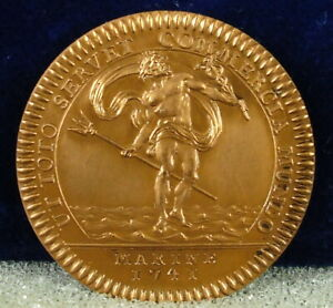 Medal-Token-c1950-Louis-XV-Poseidon-Galley-Royal-Allegorie-Navy-Token-1741