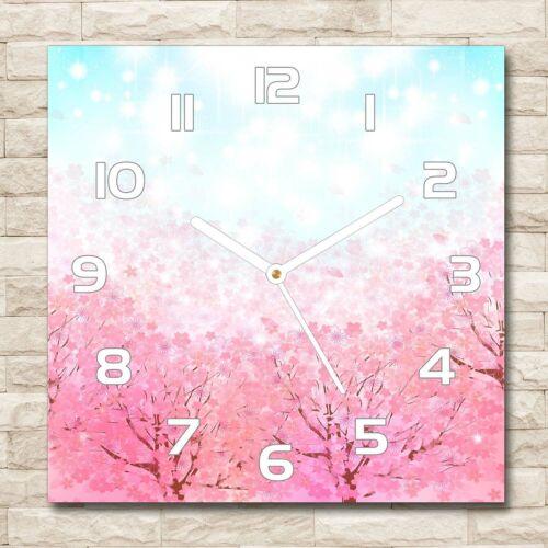 Kirschblüten Rosa Wanduhr Echt-Glas-Küchenuhr 30x30 Deko Bilder-Motiv