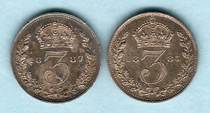 Great-Britain-1887-Jubilee-Head-Threepences-x-2-Coins-gEF-amp-aEF-EF