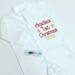 Personalised Name 1st First Christmas 2021 Embroidered Baby Grow Cute Gift Elf