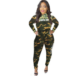 7728d6d24039 Details about Fashion Women Hooded Long Sleeve Camouflage Print Casual  Tracksuit Jumpsuit 2pcs