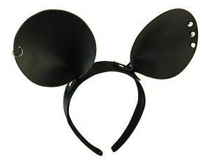Mickey Mouse Ohren Kunstleder Nieten Piercing Kostüm-Accessoire Kopfschmuck Maus