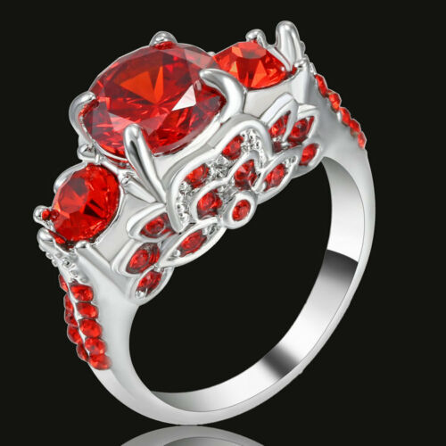 Women Red Ruby Wedding Ring CZ silver Rhodium Plated Engagement Band Size 7 Gift