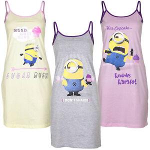 on sale 2da75 ae5e9 Details zu Neu Pyjama Schlafanzug Nachthemd Damen Mädchen Minions Gelb Rosa  S M L XL #703