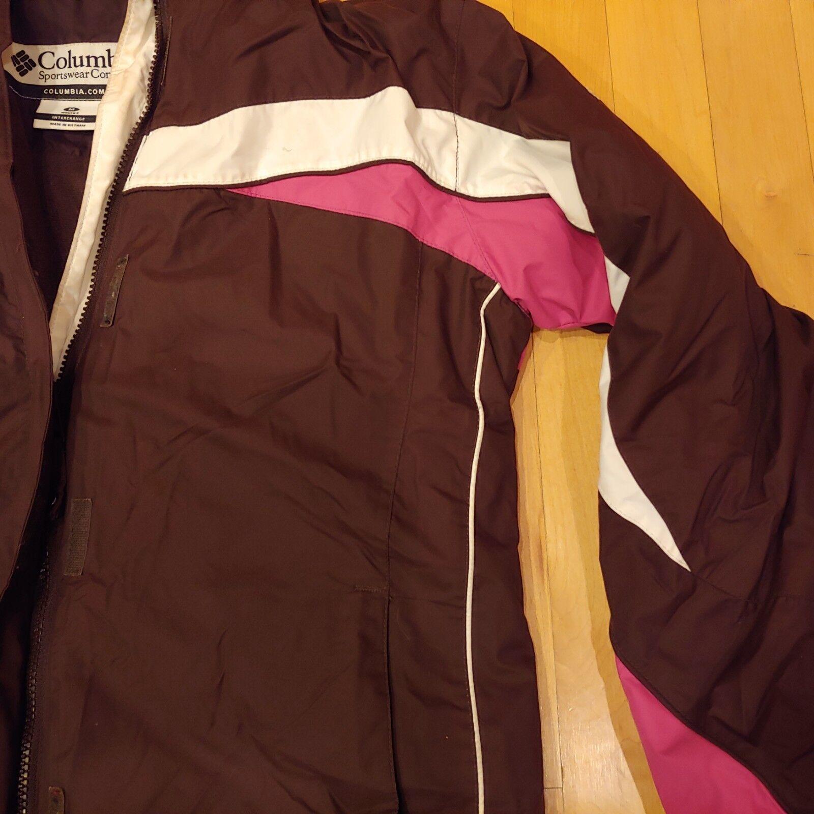 Para mujer M Mediano Columbia Marrón rosado rosado rosado no Chaqueta De Invierno Con Capucha 23532c
