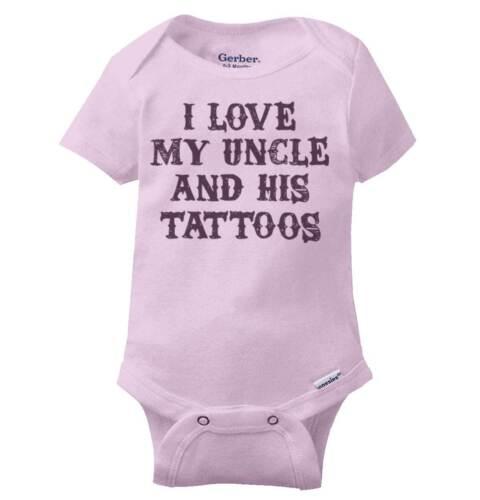 I Love My Uncles Tattoos Gerber OnesieCool Rebel Inked Adorable Baby Romper