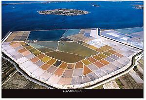 CARTOLINA-FOTO-AEREA-MARE-SEA-MARSALA-SALINE-SICILIA-SICILY-POSTCARD