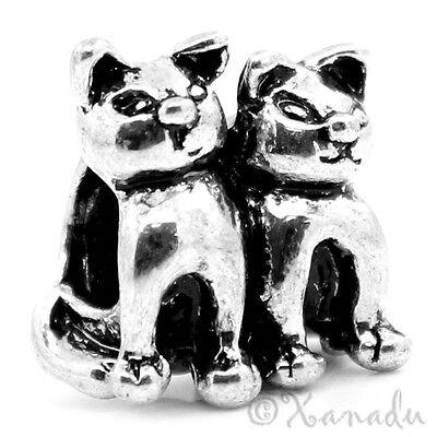 Kitty Cats European Charm Bead For European Charm Bracelets - Gift For Cat Owner
