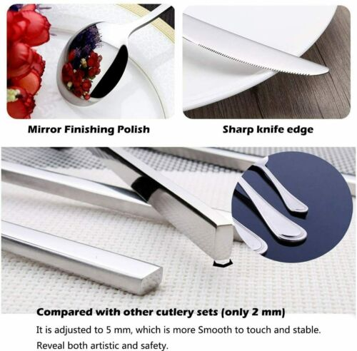 16pcs Stainless Steel Cutlery Sets Spoon Fork Tableware Dining Kitchen flatware