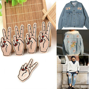 New diy peace hand iron on patch sew on embroidered for Diy tr
