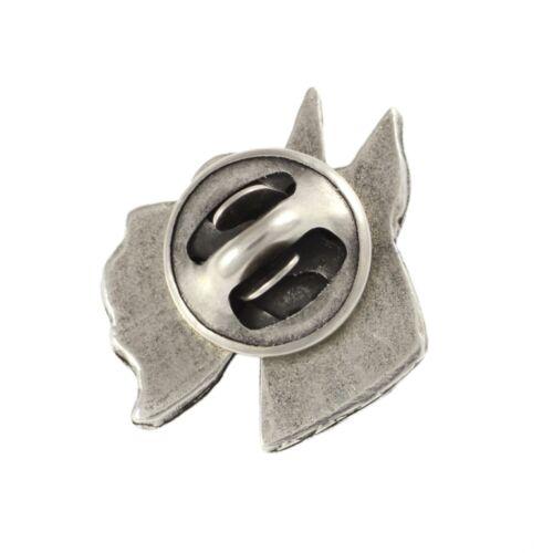 high qauality Art Dog UK silver covered pin cropped, head Schnauzer