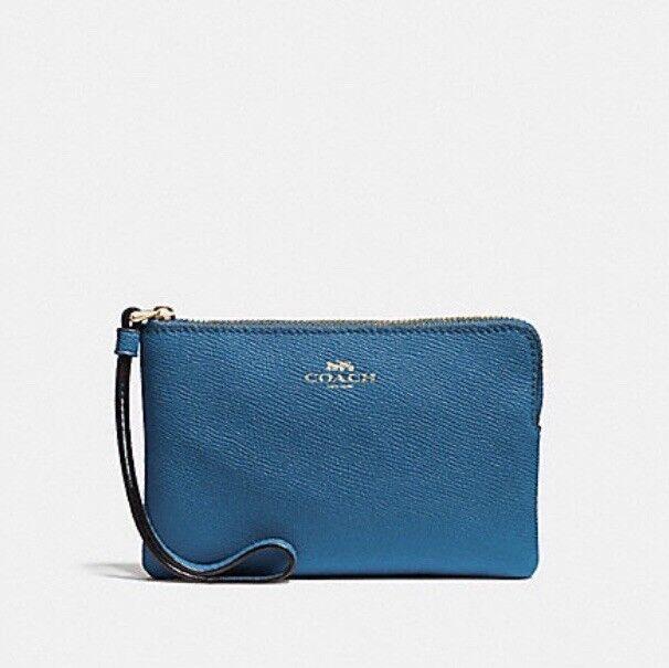 ee8565e2eb88 Coach F58032 Corner Zip Wristlet Crossgrain Leather Ink Blue for sale  online