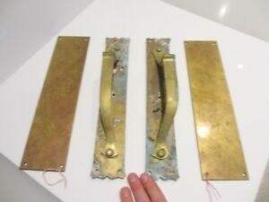 """Antique Brass Door Handles Shop Pulls Art Nouveau Architectural Vintage Old  12/"""""""