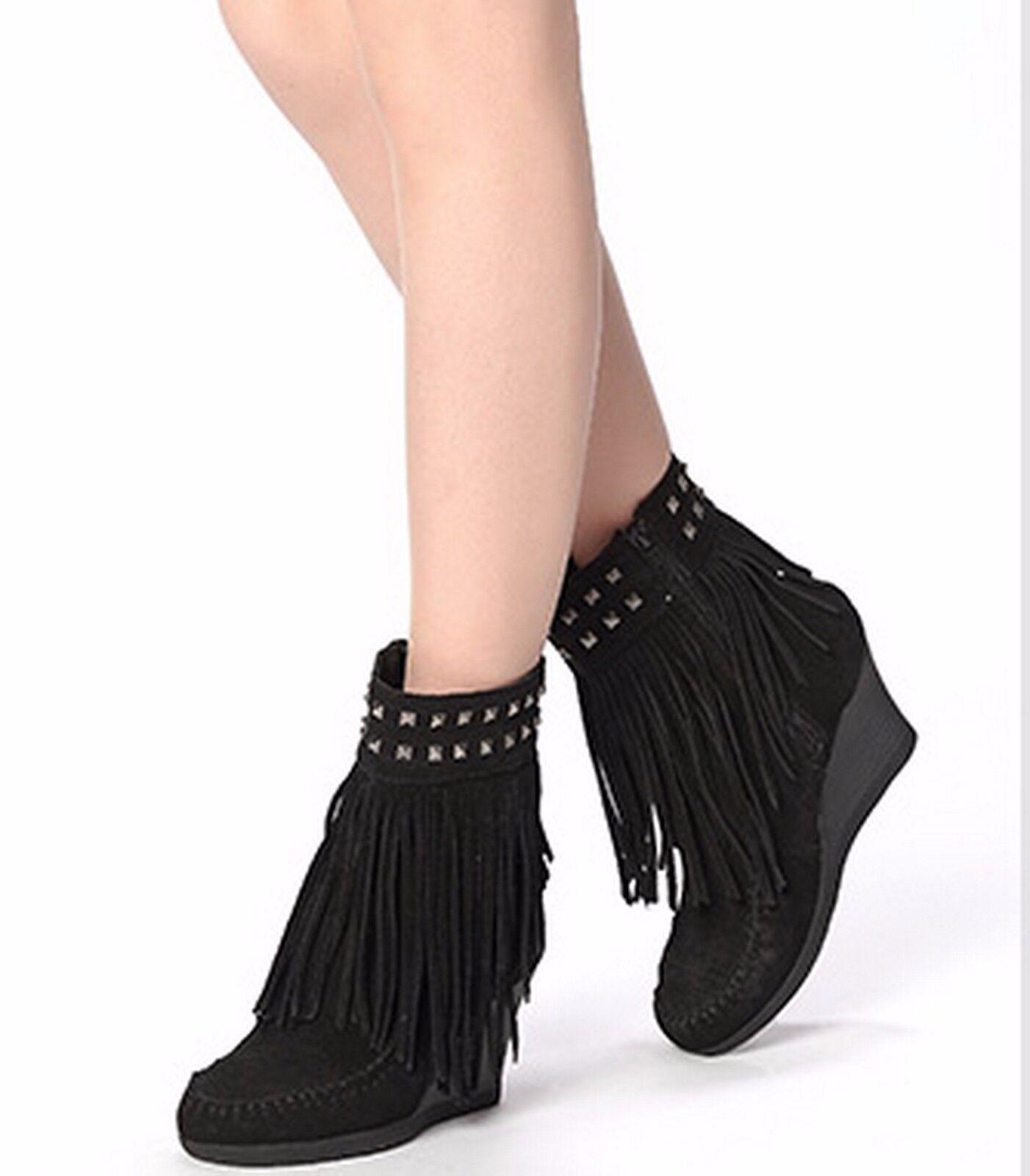Nueva con caja Minnetonka Botín botas botas botas Zapatos De Gamuza, Negro, 7.5M  costo real